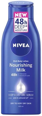 NIVEA 400ml Nourishing Milk Rich Body Lotion vartaloemulsio kuivalle ja erittäin kuivalle iholle
