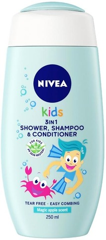 Nivea Kids 250Ml Magic Apple 3In1 -Suihkugeeli, Shampoo & Hoitoaine