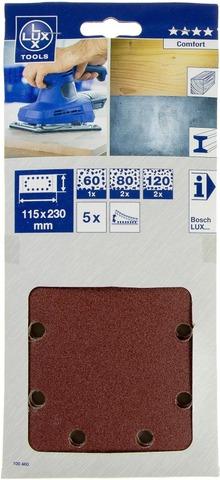 Lux Hiomapaperi 115X230mm P60 P80 P120 5Kpl