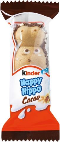 Kinder Happy Hippo Maito- Ja Kaakaokreemillä Täytetty Rapea Vohvelipatukka  20,7G
