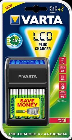 Varta LCD plug charger laturi ja 4xAA alkaliparistoja