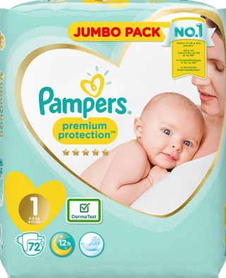 Pampers 72kpl Premium Protection New Baby S1 (2-5kg) vaippa