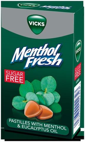 Vicks Menthol Fresh Sokeriton Kurkkupastilli Mentholilla 40G
