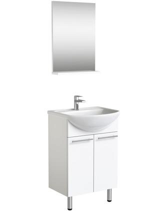 Indoor 3In1 Kylpyhuonekalustesetti, Sisältää Allaskaapiston Ovilla, Posliinialtaan Ja Peilin Hyllytasolla