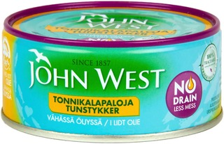 John West Nodrain Meheviä Tonnikalapaloja Valmiiksi Valutettuina Vähässä Auringonkukkaöljyssä 120G