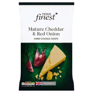 Tesco Finest 150G Mature Cheddar & Red Onion Crisps Perunalastut