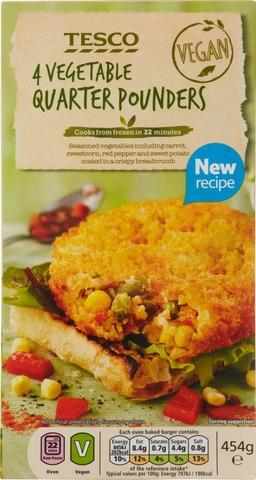 Tesco 454G Vegetable Quarter Pounders Pihvit 4Kpl