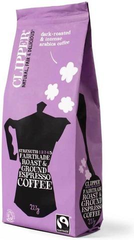 Clipper Luomu Espresso Arabica kahvi 227g Reilu Kauppa