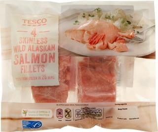 Tesco 330G 4 Skinless Wild Alaskan Salmon Fillets Lohifileepaloja 4Kpl