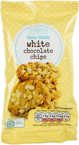 Tesco 100G White Chocolate Chips Valkosuklaapaloja Leivontaan