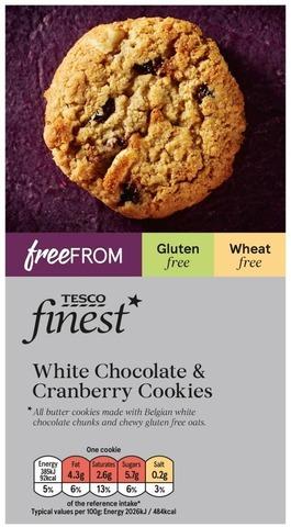 Tesco Finest Free From 150g White Chocolate & Cranberry Cookies valkosuklaa-karpalo keksi gluteeniton
