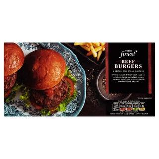 Tesco Finest 454G Beef Burgers Jauhelihapihvejä Pakaste 4Kpl