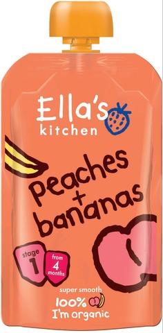 120G Ella's Kitchen Persikka-Banaanisose Alkaen 4 Kk Luomu