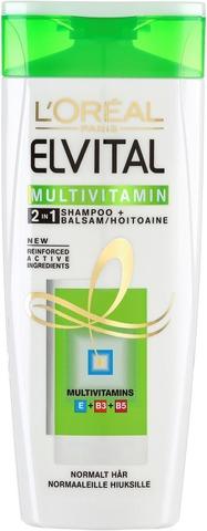 L'Oréal Paris Elvital Multivitamin 2in1 Shampoo Ja Hoitoaine Normaaleille Hiuksille 250ml