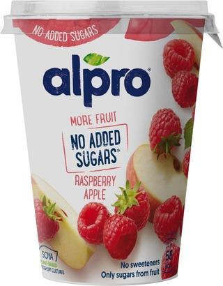 Alpro More Fruit, No Added Sugars Hapatettu Soijavalmise Vadelma-Omena 400G