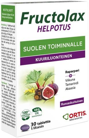 Fructolax Helpotus Hedelmäkuitutabletti Runsaskuituinen Ravintolisä 23,7G/30Kpl