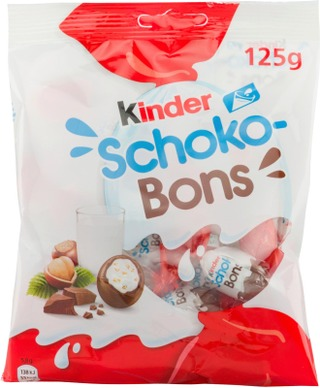 Kinder Schokobons Maitosuklaata Maitoisalla Hasselpähkinärouhetäytteellä 125G