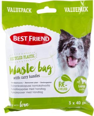 Best Friend Koiran Kakkapussi L (21X39 Cm) Kantokahvoilla, Säästöpakkaus 3 X 40 Kpl Kierrätysmuovia
