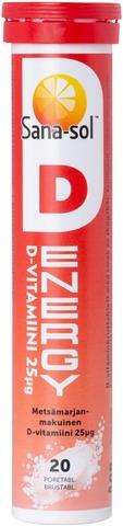 Sana-Sol D-Energy D25µg Metsämarjanmakuinen D-vitamiiniporetabletti 20kpl