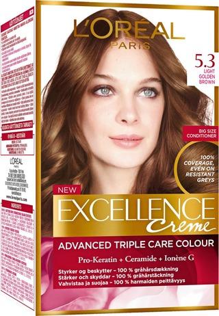 L'oréal Paris Excellence Creme 5.3 Golden Light Brown Kullanruskea Kestoväri 1Kpl