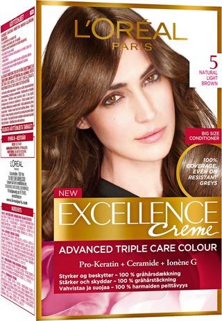 L'oréal Paris Excellence Creme 5 Natural Light Brown Ruskea Kestoväri 1Kpl