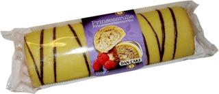 Dan Cake Prinsessa Kääretorttu 350G, Jossa On 13 % Vadelmatäytettä, 11 % Vaniljamakuista Kermaa, 23% Vihreää Marsipaaninmakuista Kuorrutetta Ja 1 % Suklaakuorrutetta