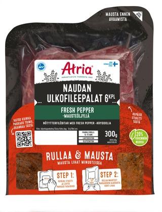Atria Naudan Ulkofileepalat Fresh Pepper -Mausteöljyllä 300G