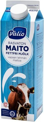 Valio vapaan lehmän rasvaton maito 1 l