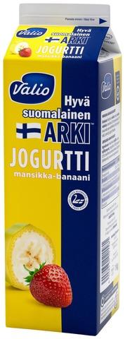 Valio Hyvä suomalainen Arki jogurtti 1 kg mansikka-banaani