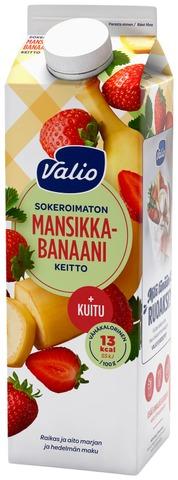 Valio Mansikka-Banaanikeitto+Kuitu 1 Kg Sokeroimaton