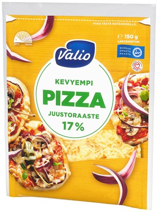 Valio Kevyempi Pizzajuusto 17 % E150 G Raaste