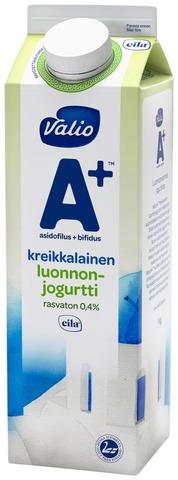 Valio A+ Kreikkalainen Luonnonjogurtti 1 Kg Rasvaton Laktoositon