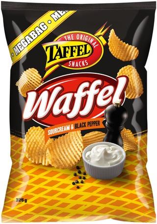 Taffel Waffel ranskankerma mustapippuri maustettu perunalastu 325g