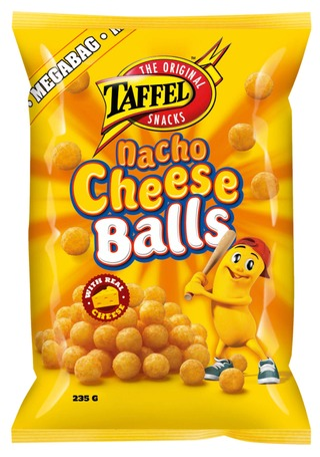 Taffel Nacho Cheese Balls maustettu juustosnacks 235g
