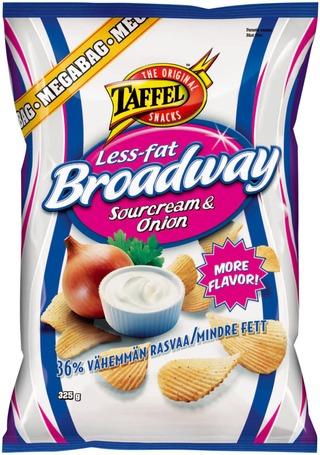 Taffel Broadway Less Fat Ranskankerma Sipuli Maustettu Perunalastu 325G