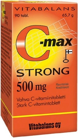 C-max Strong 500 mg 90 tabl., vahva C-vitamiinitabletti,  Vitabalans