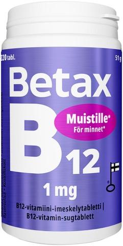 Betax B12-Vitamiini-Imeskelytabletti 1 Mg, 220 Tabl. Vitabalans
