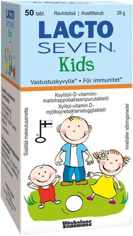 Lacto Seven Kids Ksylitoli-Maitohappopurutabletti 50 Tabl.