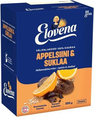 Elovena 10X30g Appelsiini-Suklaa Välipalakeksi 100% Kauraa