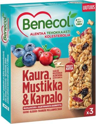 Benecol 3x40g kaura-mustikka-karpalo välipalapatukka