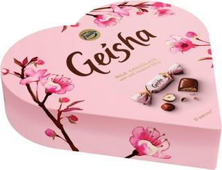 Fazer Fazer Geisha Sydän 225G Hasselpähkinänougattäytteinen (38%) Kääritty Maitosuklaakonvehti