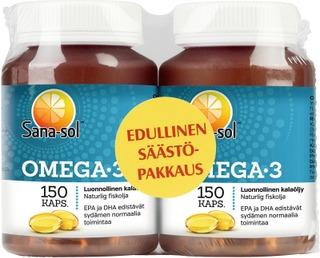 Sana-Sol Omega-3 Luonnollinen Kalaöljy Omega-3-Rasvahappokapseli Ravintolisä 2X150kaps