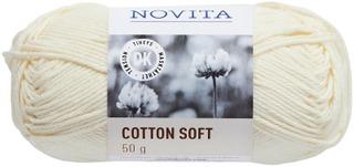 Novita Cotton Soft 50g lanka luonnonvalkoinen 010