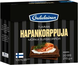 Oululainen Tummia Hapankorppuja 215G