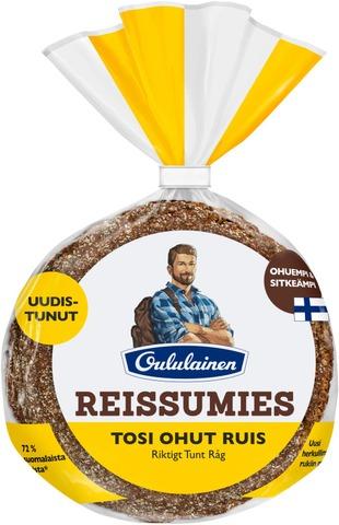 Oululainen Reissumies 175g 5kpl Tosi Ohut ruis täysjyväruisleipä