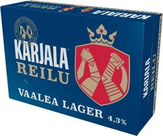24 x Karjala Reilu Lager olut 4,3% 0,33 l
