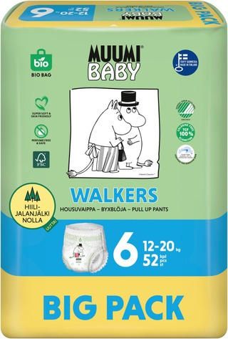 Muumi Baby Walkers housuvaippa 6 12-20kg 52kpl