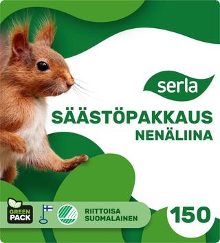 Serla nenäliina perhepakkaus 150 kpl 2 kerroksinen, ensikuitu ja kierrätyskuitu, arkkikoko 250x275mm