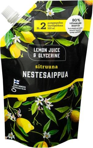 Lemon Juice & Glycerine Nestesaippua 550Ml Täyttöpussi