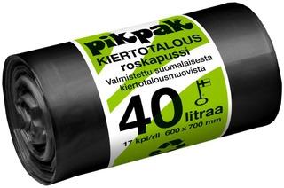 Pikpak Kiertotalous Roskapussi 40L 600X700x0,03 24 Kpl Rulla